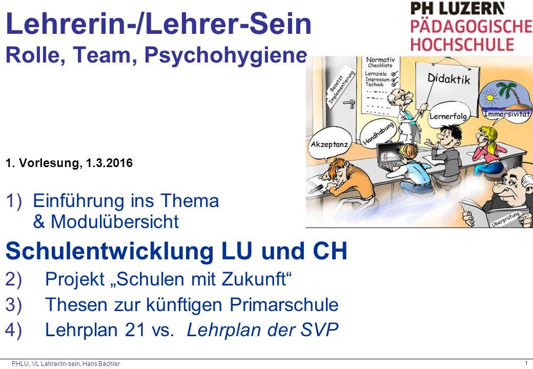 PHLU, VL Lehrer/in-sein, Hans Bächler 1 Lehrerin-/Lehrer-Sein Rolle, Team, Psychohygiene 1. Vorlesung, 1.3.2016 1)Einführung ins Thema & Modulübersich
