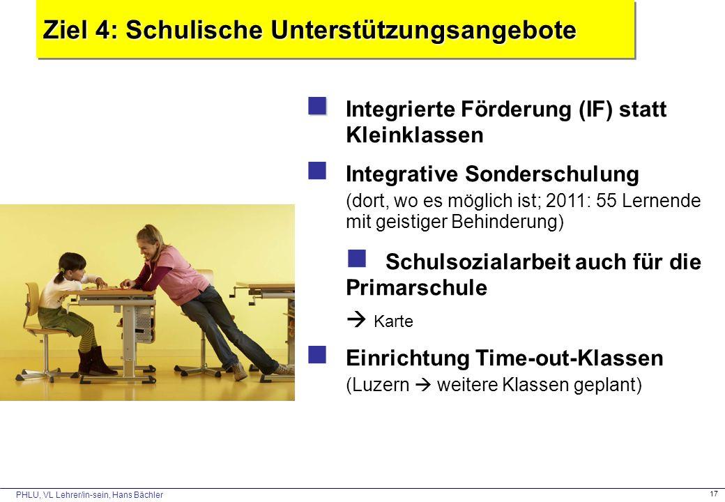 PHLU, VL Lehrer/in-sein, Hans Bächler 17 Ziel 4: Schulische Unterstützungsangebote Integrierte Förderung (IF) statt Kleinklassen Integrative Sondersch