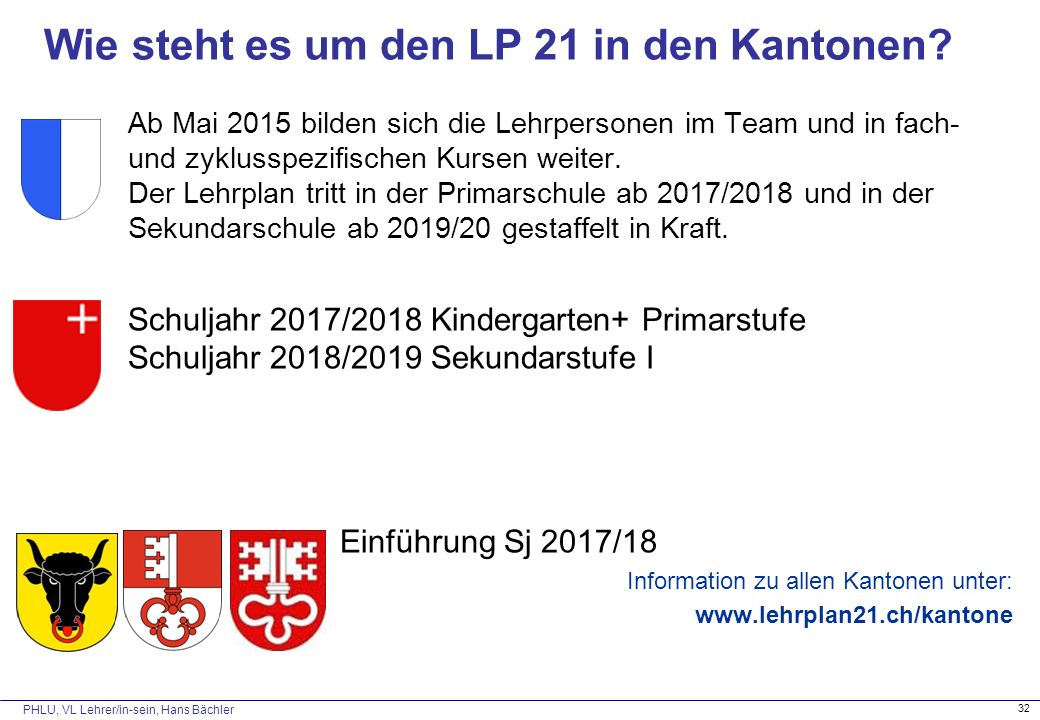 PHLU, VL Lehrer/in-sein, Hans Bächler 32 Wie steht es um den LP 21 in den Kantonen.