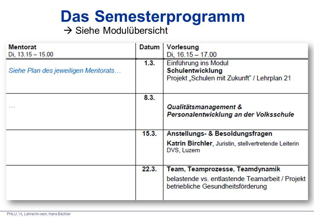 PHLU, VL Lehrer/in-sein, Hans Bächler Das Semesterprogramm  Siehe Modulübersicht