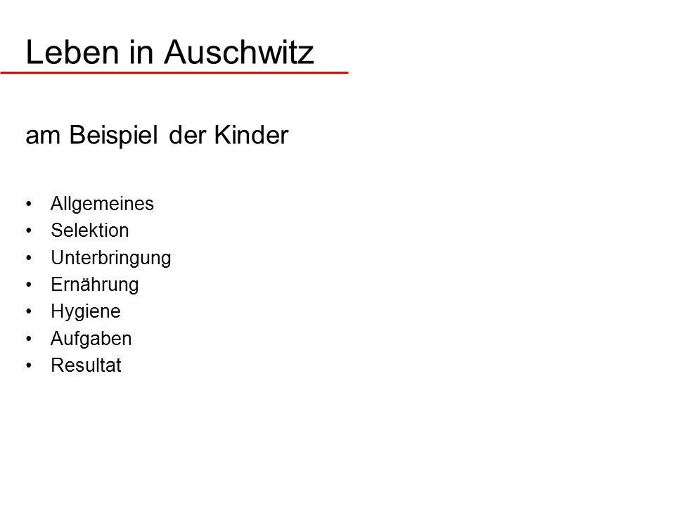 Leben in Auschwitz am Beispiel der Kinder Allgemeines Selektion Unterbringung Ernährung Hygiene Aufgaben Resultat