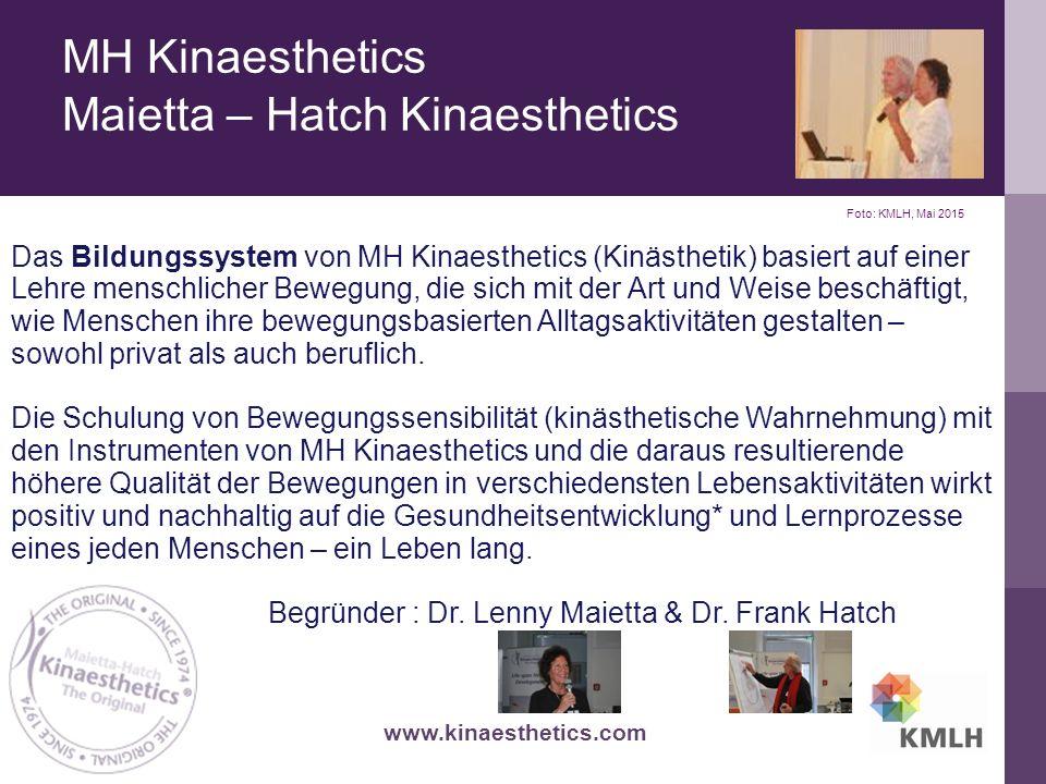 MH Kinaesthetics Maietta – Hatch Kinaesthetics Das Bildungssystem von MH Kinaesthetics (Kinästhetik) basiert auf einer Lehre menschlicher Bewegung, die sich mit der Art und Weise beschäftigt, wie Menschen ihre bewegungsbasierten Alltagsaktivitäten gestalten – sowohl privat als auch beruflich.