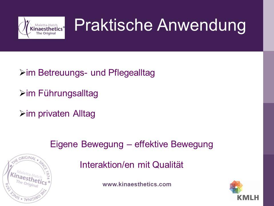 Praktische Anwendung www.kinaesthetics.com  im Betreuungs- und Pflegealltag  im Führungsalltag  im privaten Alltag Eigene Bewegung – effektive Bewegung Interaktion/en mit Qualität