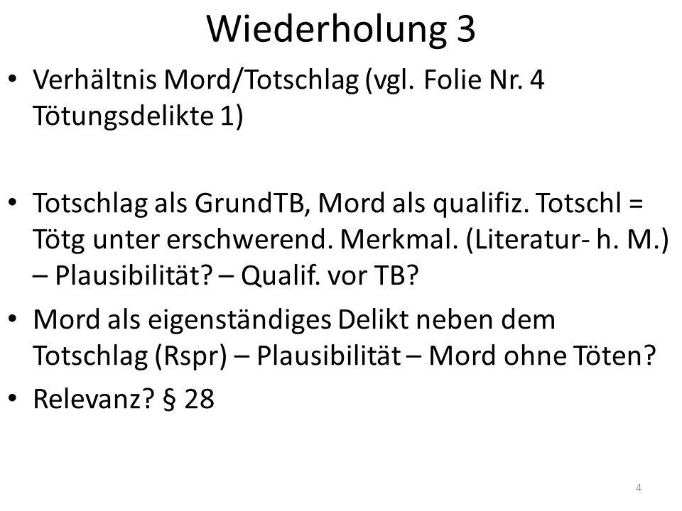 Wiederholung 3 Verhältnis Mord/Totschlag (vgl.Folie Nr.