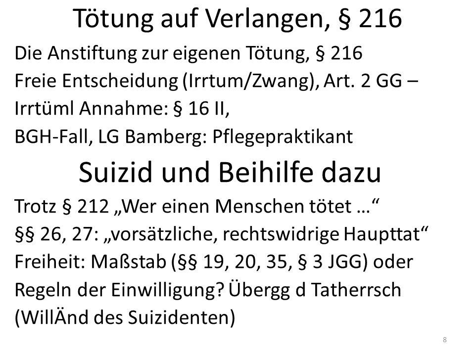 Tötung auf Verlangen, § 216 Die Anstiftung zur eigenen Tötung, § 216 Freie Entscheidung (Irrtum/Zwang), Art.