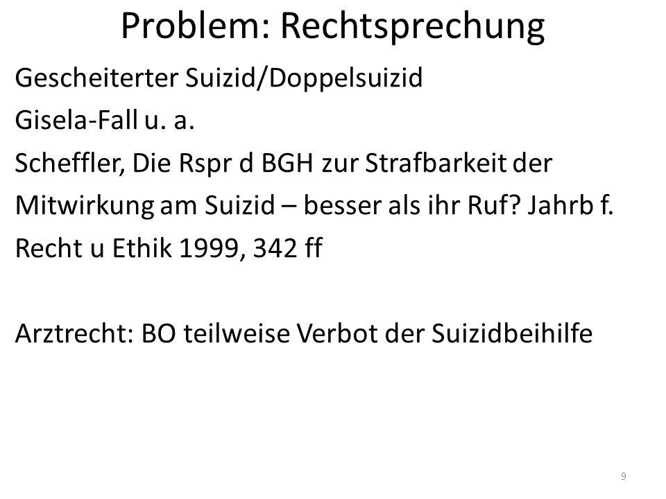 Problem: Rechtsprechung Gescheiterter Suizid/Doppelsuizid Gisela-Fall u.