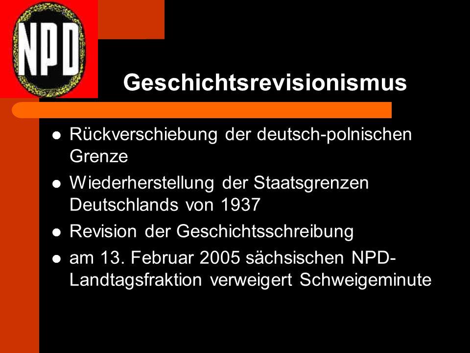 Geschichtsrevisionismus Rückverschiebung der deutsch-polnischen Grenze Wiederherstellung der Staatsgrenzen Deutschlands von 1937 Revision der Geschichtsschreibung am 13.