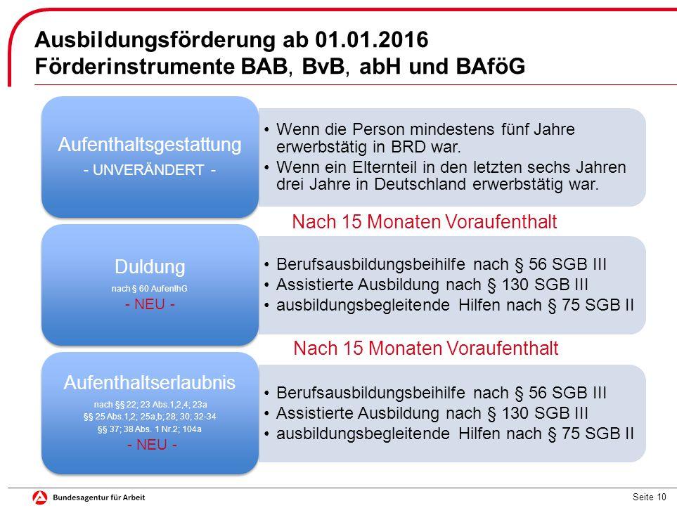 Seite 10 Ausbildungsförderung ab 01.01.2016 Förderinstrumente BAB, BvB, abH und BAföG Wenn die Person mindestens fünf Jahre erwerbstätig in BRD war.