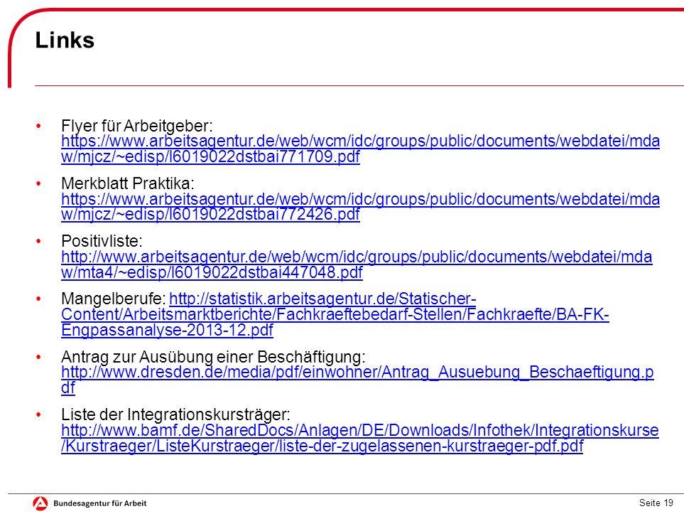 Seite 19 Links Flyer für Arbeitgeber: https://www.arbeitsagentur.de/web/wcm/idc/groups/public/documents/webdatei/mda w/mjcz/~edisp/l6019022dstbai771709.pdf https://www.arbeitsagentur.de/web/wcm/idc/groups/public/documents/webdatei/mda w/mjcz/~edisp/l6019022dstbai771709.pdf Merkblatt Praktika: https://www.arbeitsagentur.de/web/wcm/idc/groups/public/documents/webdatei/mda w/mjcz/~edisp/l6019022dstbai772426.pdf https://www.arbeitsagentur.de/web/wcm/idc/groups/public/documents/webdatei/mda w/mjcz/~edisp/l6019022dstbai772426.pdf Positivliste: http://www.arbeitsagentur.de/web/wcm/idc/groups/public/documents/webdatei/mda w/mta4/~edisp/l6019022dstbai447048.pdf http://www.arbeitsagentur.de/web/wcm/idc/groups/public/documents/webdatei/mda w/mta4/~edisp/l6019022dstbai447048.pdf Mangelberufe: http://statistik.arbeitsagentur.de/Statischer- Content/Arbeitsmarktberichte/Fachkraeftebedarf-Stellen/Fachkraefte/BA-FK- Engpassanalyse-2013-12.pdfhttp://statistik.arbeitsagentur.de/Statischer- Content/Arbeitsmarktberichte/Fachkraeftebedarf-Stellen/Fachkraefte/BA-FK- Engpassanalyse-2013-12.pdf Antrag zur Ausübung einer Beschäftigung: http://www.dresden.de/media/pdf/einwohner/Antrag_Ausuebung_Beschaeftigung.p df http://www.dresden.de/media/pdf/einwohner/Antrag_Ausuebung_Beschaeftigung.p df Liste der Integrationskursträger: http://www.bamf.de/SharedDocs/Anlagen/DE/Downloads/Infothek/Integrationskurse /Kurstraeger/ListeKurstraeger/liste-der-zugelassenen-kurstraeger-pdf.pdf http://www.bamf.de/SharedDocs/Anlagen/DE/Downloads/Infothek/Integrationskurse /Kurstraeger/ListeKurstraeger/liste-der-zugelassenen-kurstraeger-pdf.pdf