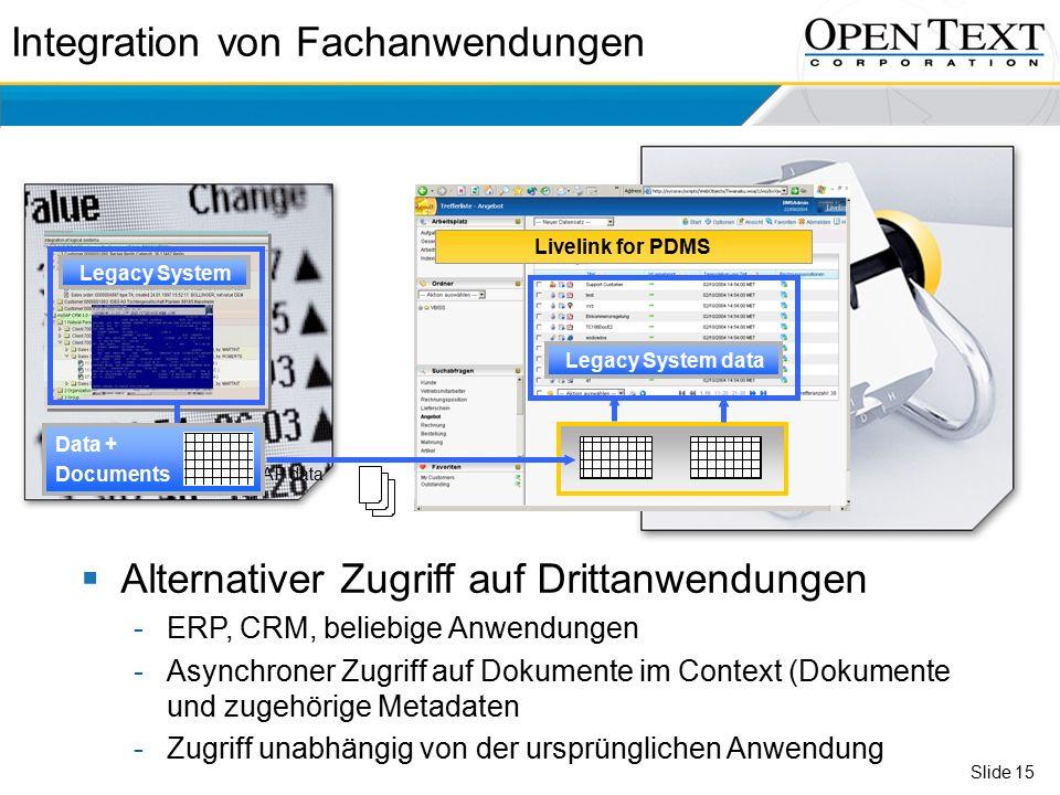 Slide 15  Alternativer Zugriff auf Drittanwendungen -ERP, CRM, beliebige Anwendungen -Asynchroner Zugriff auf Dokumente im Context (Dokumente und zugehörige Metadaten -Zugriff unabhängig von der ursprünglichen Anwendung Livelink for PDMS SAP data Legacy System Legacy System data Integration von Fachanwendungen Data + Documents