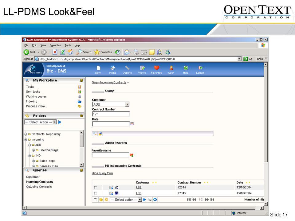Slide 17 LL-PDMS Look&Feel