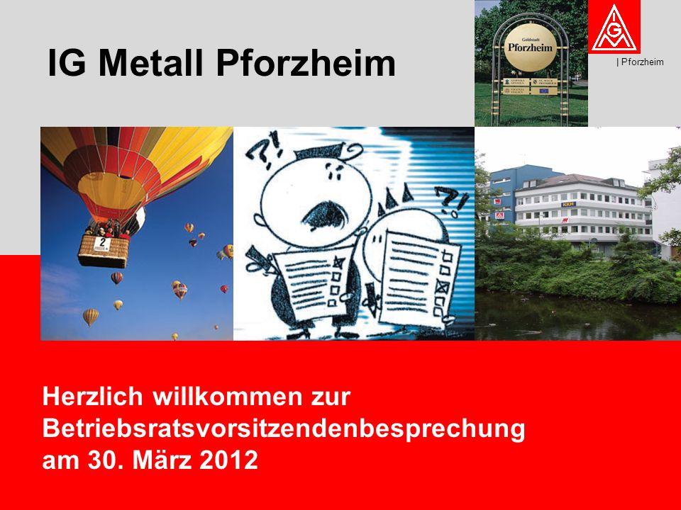 1 IG Metall Pforzheim | Pforzheim Herzlich willkommen zur Betriebsratsvorsitzendenbesprechung am 30.