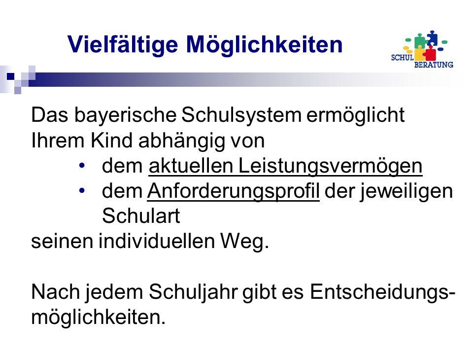 Vielfältige Möglichkeiten Das bayerische Schulsystem ermöglicht Ihrem Kind abhängig von dem aktuellen Leistungsvermögen dem Anforderungsprofil der jeweiligen Schulart seinen individuellen Weg.