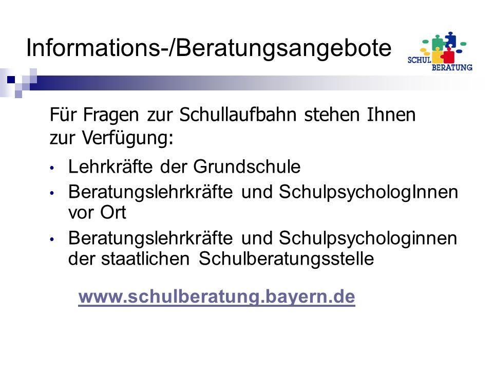 Informations-/Beratungsangebote Lehrkräfte der Grundschule Beratungslehrkräfte und SchulpsychologInnen vor Ort Beratungslehrkräfte und Schulpsychologi