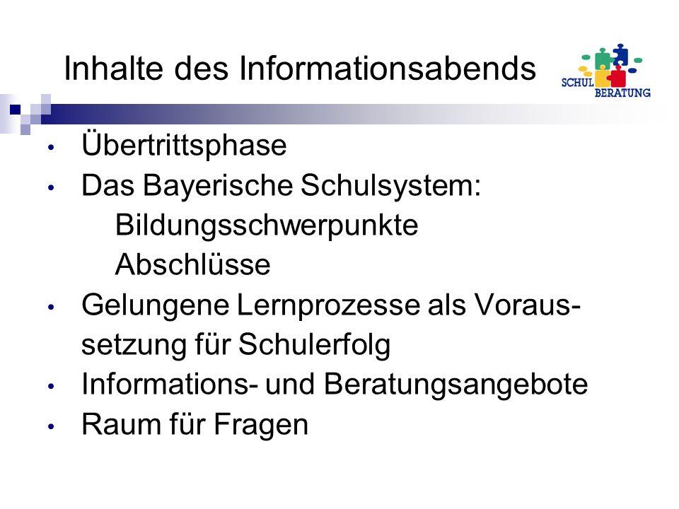 Inhalte des Informationsabends Übertrittsphase Das Bayerische Schulsystem: Bildungsschwerpunkte Abschlüsse Gelungene Lernprozesse als Voraus- setzung für Schulerfolg Informations- und Beratungsangebote Raum für Fragen