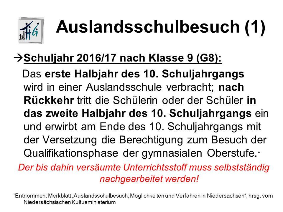 Auslandsschulbesuch (1)  Schuljahr 2016/17 nach Klasse 9 (G8): Das erste Halbjahr des 10.