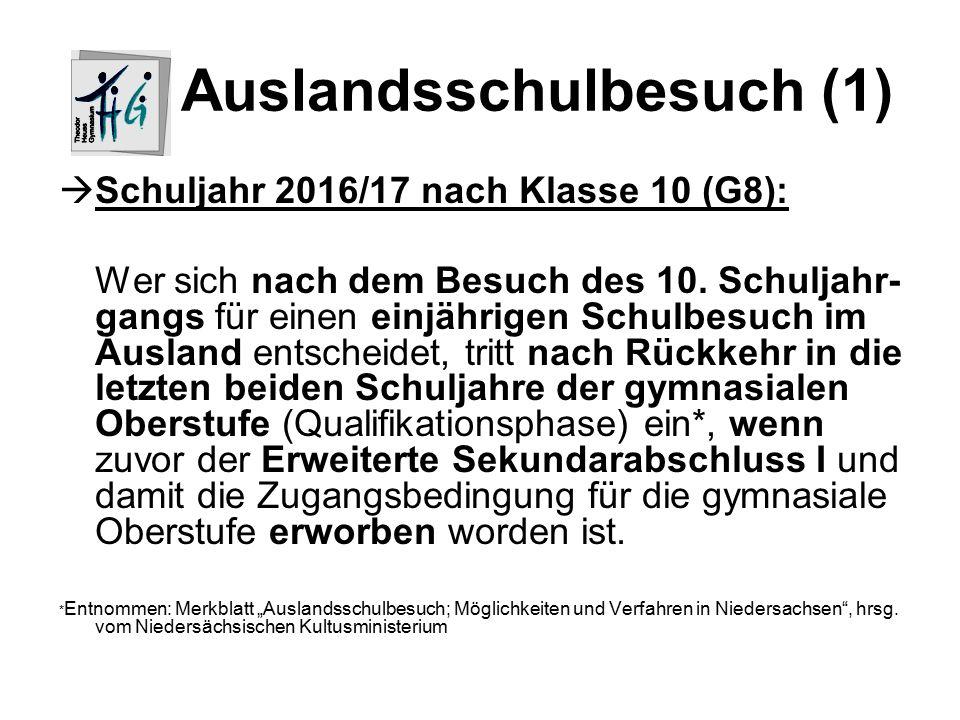 Auslandsschulbesuch (1)  Schuljahr 2016/17 nach Klasse 10 (G8): Wer sich nach dem Besuch des 10.