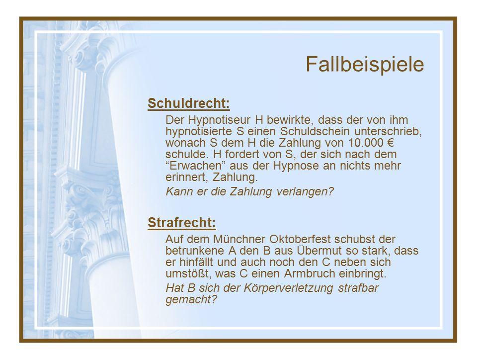 Fallbeispiele Schuldrecht: Der Hypnotiseur H bewirkte, dass der von ihm hypnotisierte S einen Schuldschein unterschrieb, wonach S dem H die Zahlung von 10.000 € schulde.