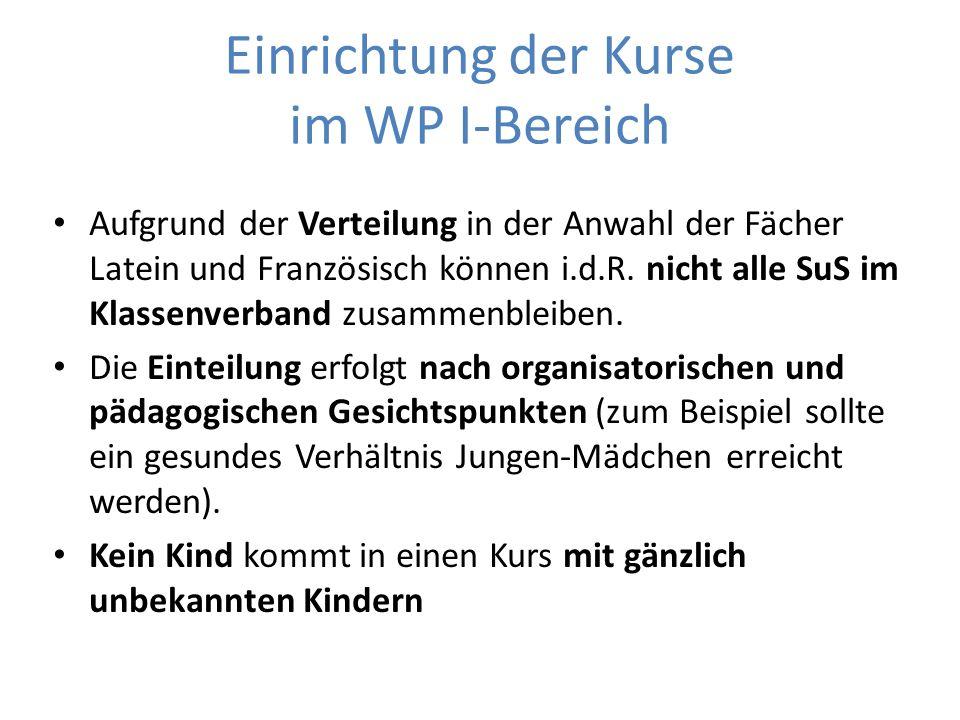 Einrichtung der Kurse im WP I-Bereich Aufgrund der Verteilung in der Anwahl der Fächer Latein und Französisch können i.d.R.