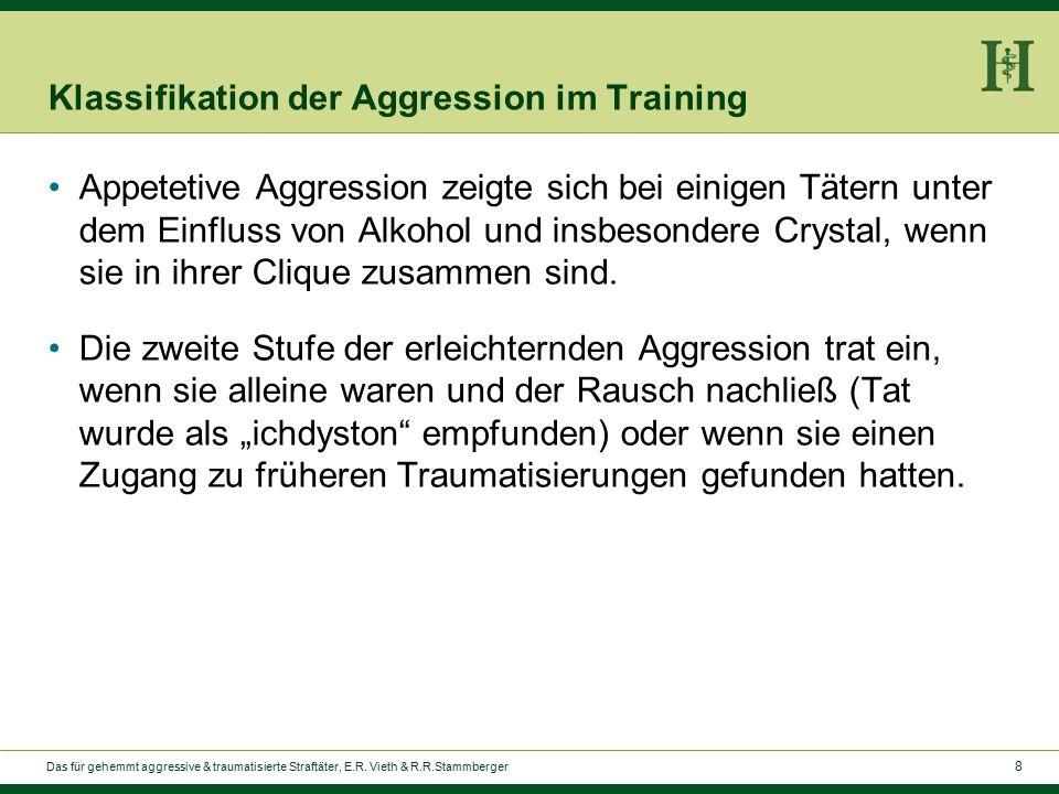 8 Klassifikation der Aggression im Training Appetetive Aggression zeigte sich bei einigen Tätern unter dem Einfluss von Alkohol und insbesondere Crystal, wenn sie in ihrer Clique zusammen sind.
