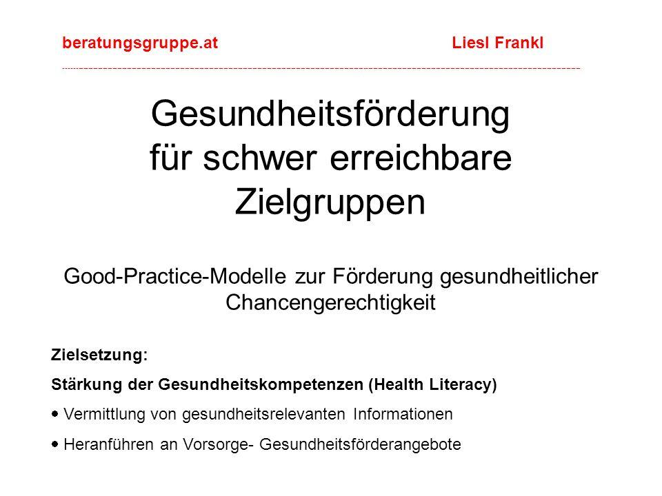 Gesundheitsförderung für schwer erreichbare Zielgruppen Good-Practice-Modelle zur Förderung gesundheitlicher Chancengerechtigkeit Zielsetzung: Stärkung der Gesundheitskompetenzen (Health Literacy)  Vermittlung von gesundheitsrelevanten Informationen  Heranführen an Vorsorge- Gesundheitsförderangebote beratungsgruppe.at Liesl Frankl ----------------------------------------------------------------------------------------------------------------------------------------------------------------------------------------------------------------------