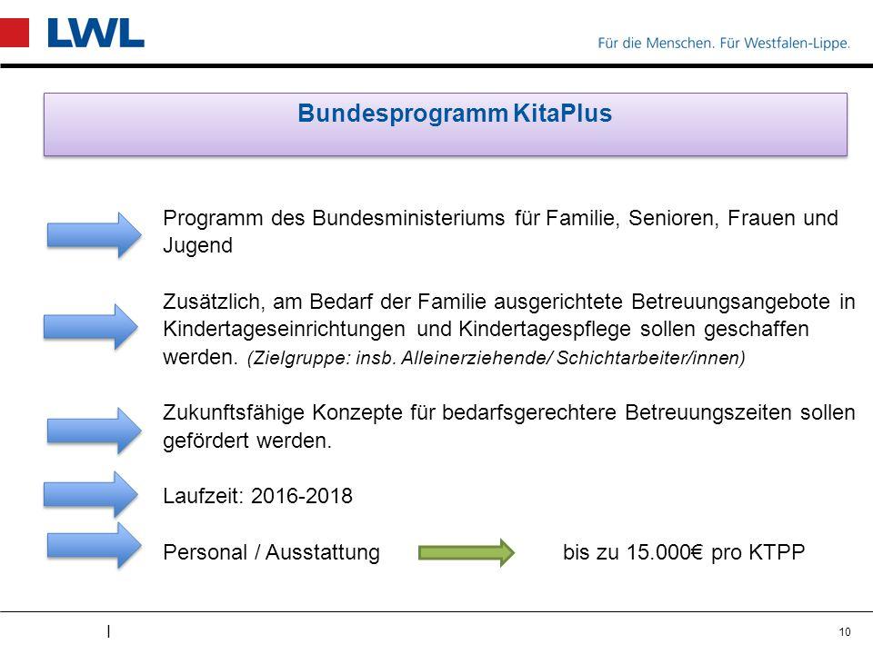 I Bundesprogramm KitaPlus Programm des Bundesministeriums für Familie, Senioren, Frauen und Jugend Zusätzlich, am Bedarf der Familie ausgerichtete Bet