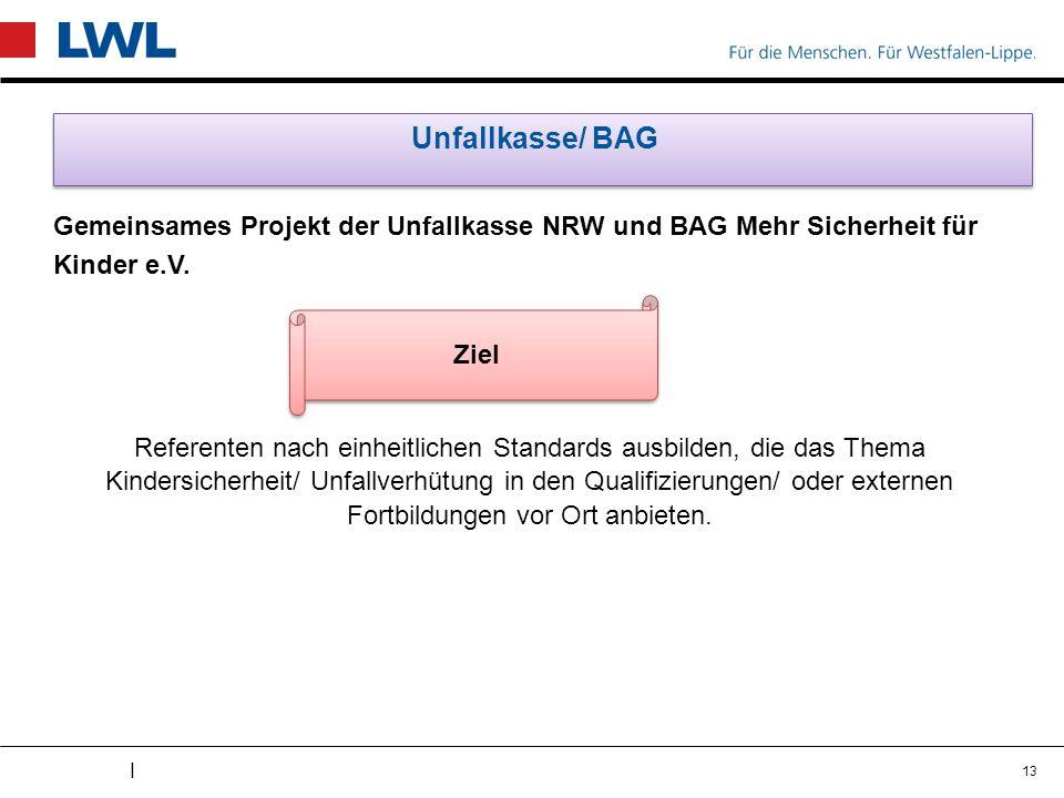 I Unfallkasse/ BAG Gemeinsames Projekt der Unfallkasse NRW und BAG Mehr Sicherheit für Kinder e.V. Referenten nach einheitlichen Standards ausbilden,