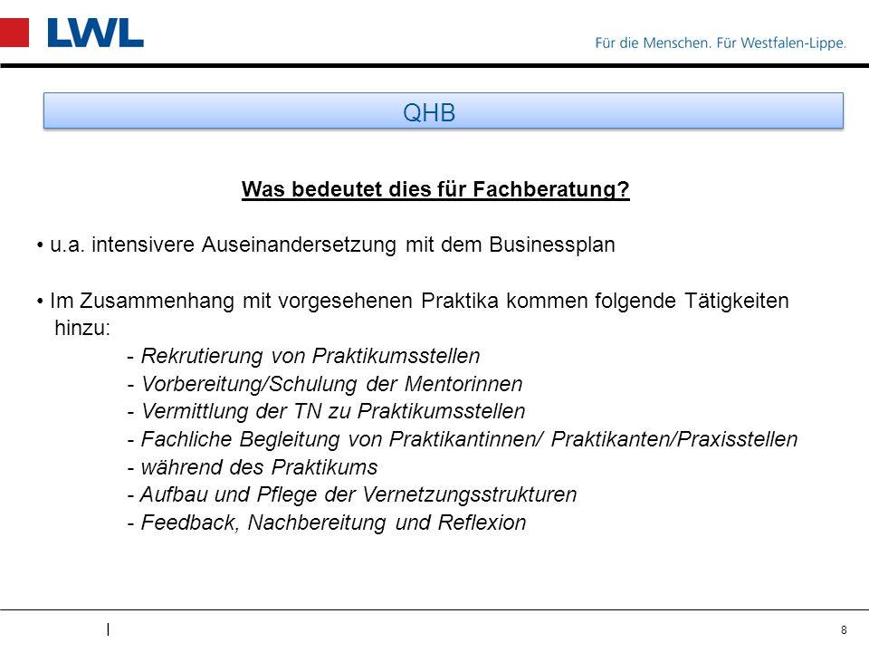 I QHB Was bedeutet dies für Fachberatung? u.a. intensivere Auseinandersetzung mit dem Businessplan Im Zusammenhang mit vorgesehenen Praktika kommen fo