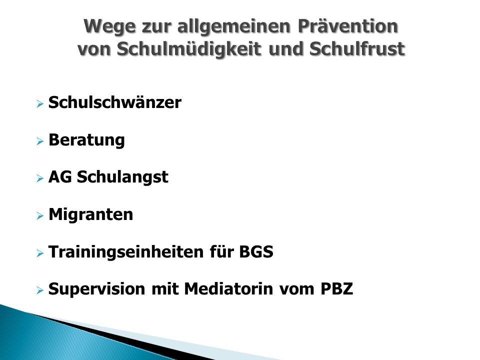  Schulschwänzer  Beratung  AG Schulangst  Migranten  Trainingseinheiten für BGS  Supervision mit Mediatorin vom PBZ