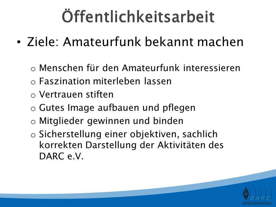 Zielgruppe: Funkamateure CQ DL – Das Amateurfunkmagazin Deutschland- / Distrikts-Rundspruch Meldungen auf www.darc.dewww.darc.de Infodienst für OV Newsletter Öffentlichkeitsarbeit Internet-Foren Vorstandsinformation