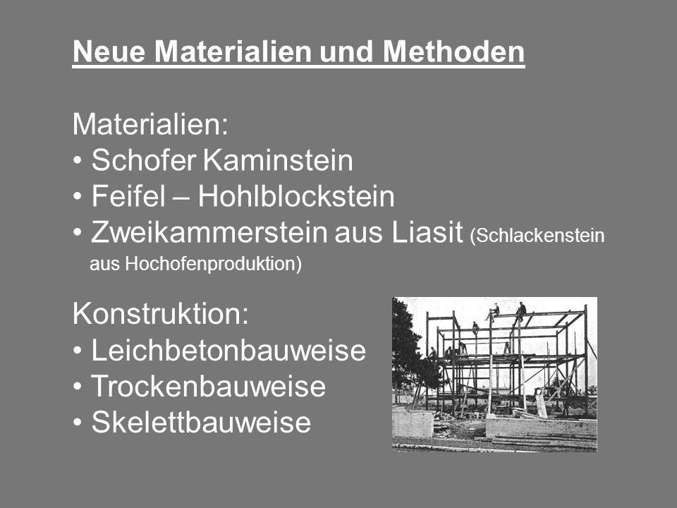 Neue Materialien und Methoden Materialien: Schofer Kaminstein Feifel – Hohlblockstein Zweikammerstein aus Liasit (Schlackenstein aus Hochofenproduktio