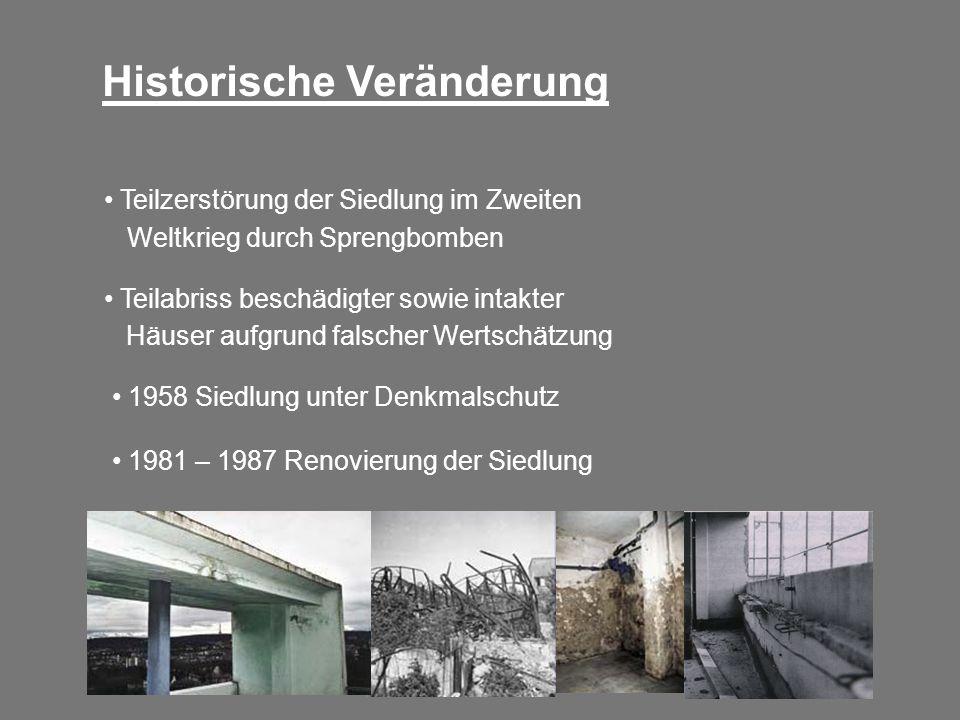 Teilzerstörung der Siedlung im Zweiten Weltkrieg durch Sprengbomben Historische Veränderung Teilabriss beschädigter sowie intakter Häuser aufgrund fal