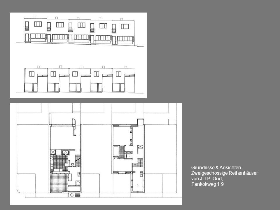 Grundrisse & Ansichten Zweigeschossige Reihenhäuser von J.J.P. Oud, Pankokweg 1-9