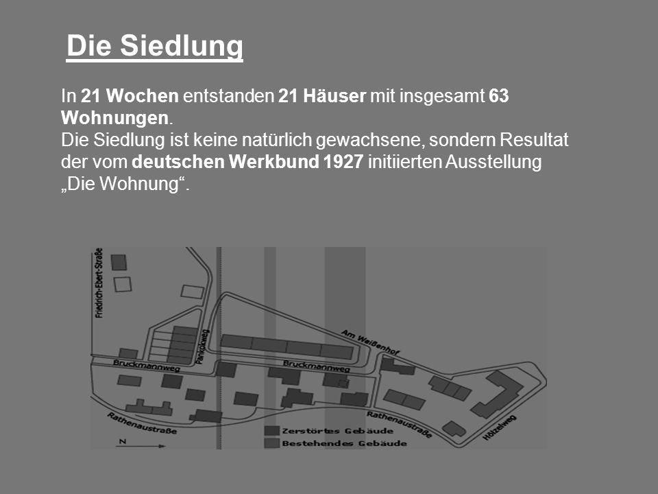 In 21 Wochen entstanden 21 Häuser mit insgesamt 63 Wohnungen. Die Siedlung ist keine natürlich gewachsene, sondern Resultat der vom deutschen Werkbund