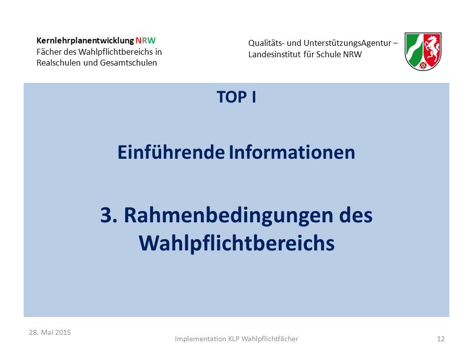 Kernlehrplanentwicklung NRW Fächer des Wahlpflichtbereichs in Realschulen und Gesamtschulen Qualitäts- und UnterstützungsAgentur – Landesinstitut für Schule NRW TOP I Einführende Informationen 3.