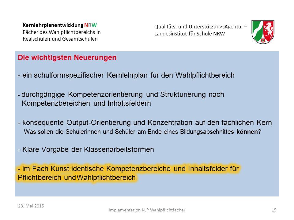 Kernlehrplanentwicklung NRW Fächer des Wahlpflichtbereichs in Realschulen und Gesamtschulen Qualitäts- und UnterstützungsAgentur – Landesinstitut für Schule NRW 15Implementation KLP Wahlpflichtfächer 28.