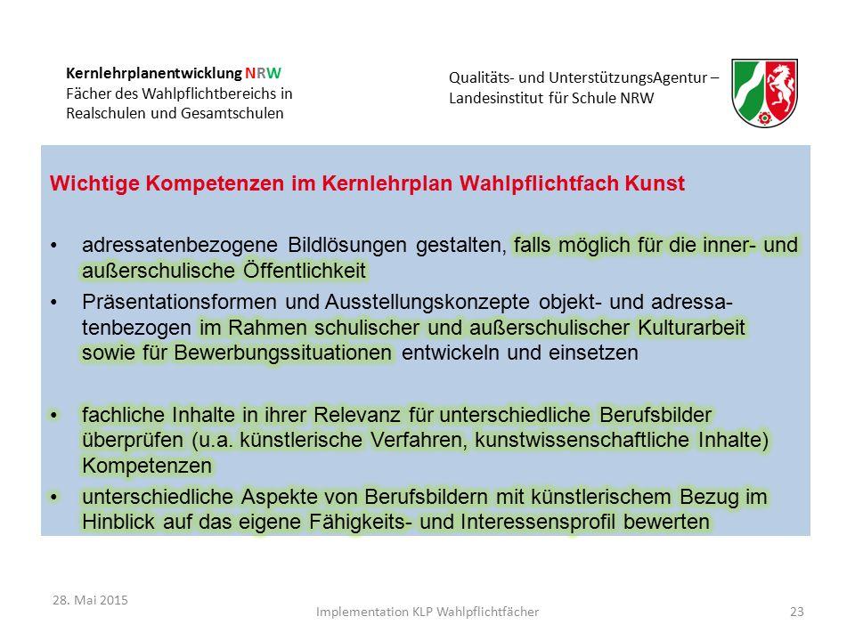 Kernlehrplanentwicklung NRW Fächer des Wahlpflichtbereichs in Realschulen und Gesamtschulen Qualitäts- und UnterstützungsAgentur – Landesinstitut für Schule NRW Implementation KLP Wahlpflichtfächer23 28.