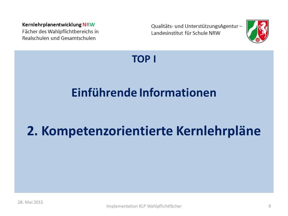 Kernlehrplanentwicklung NRW Fächer des Wahlpflichtbereichs in Realschulen und Gesamtschulen Qualitäts- und UnterstützungsAgentur – Landesinstitut für Schule NRW TOP I Einführende Informationen 2.