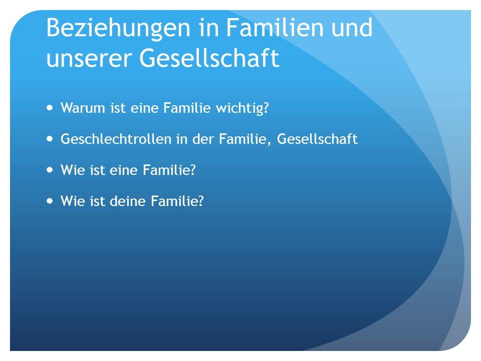 Beziehungen in Familien und unserer Gesellschaft Warum ist eine Familie wichtig.