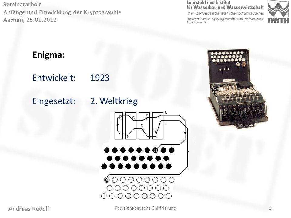 14 Seminararbeit Anfänge und Entwicklung der Kryptographie Aachen, 25.01.2012 Polyalphabetische Chiffrierung Andreas Rudolf Enigma: Entwickelt:1923 Eingesetzt:2.