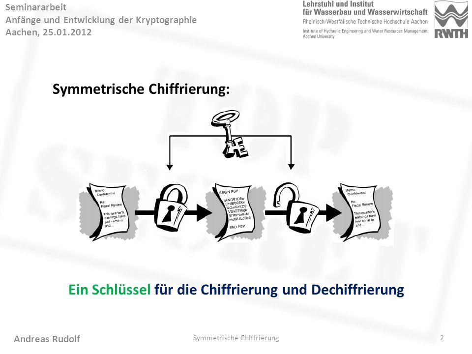 """3 Seminararbeit Anfänge und Entwicklung der Kryptographie Aachen, 25.01.2012 Skytale: Symmetrische Chiffrierung Andreas Rudolf Schlüssel: ein Zylinder Der Durchmesser des Zylinders ist der """"Schlüsselwert ."""