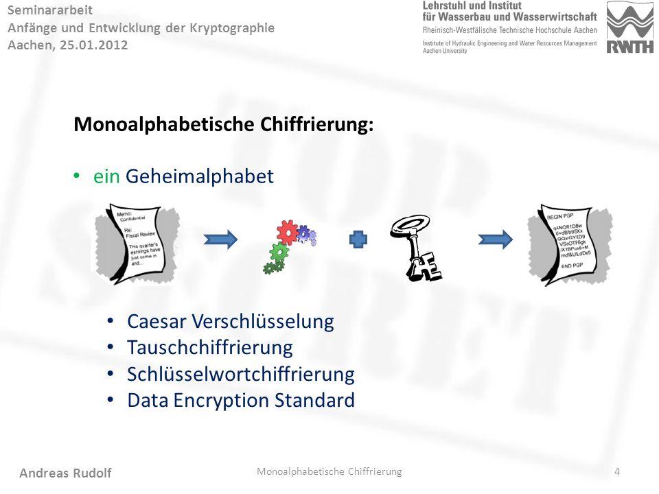 5 Seminararbeit Anfänge und Entwicklung der Kryptographie Aachen, 25.01.2012 Monoalphabetische Chiffrierung Andreas Rudolf Caesar Verschlüsselung: Zeit: ca.