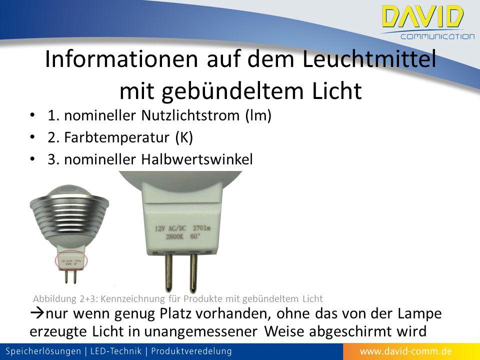 Informationen auf dem Leuchtmittel mit gebündeltem Licht 1.