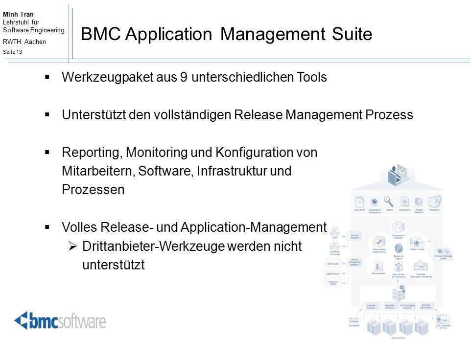 Minh Tran Lehrstuhl für Software Engineering RWTH Aachen Seite 13 BMC Application Management Suite  Werkzeugpaket aus 9 unterschiedlichen Tools  Unterstützt den vollständigen Release Management Prozess  Reporting, Monitoring und Konfiguration von Mitarbeitern, Software, Infrastruktur und Prozessen  Volles Release- und Application-Management  Drittanbieter-Werkzeuge werden nicht unterstützt