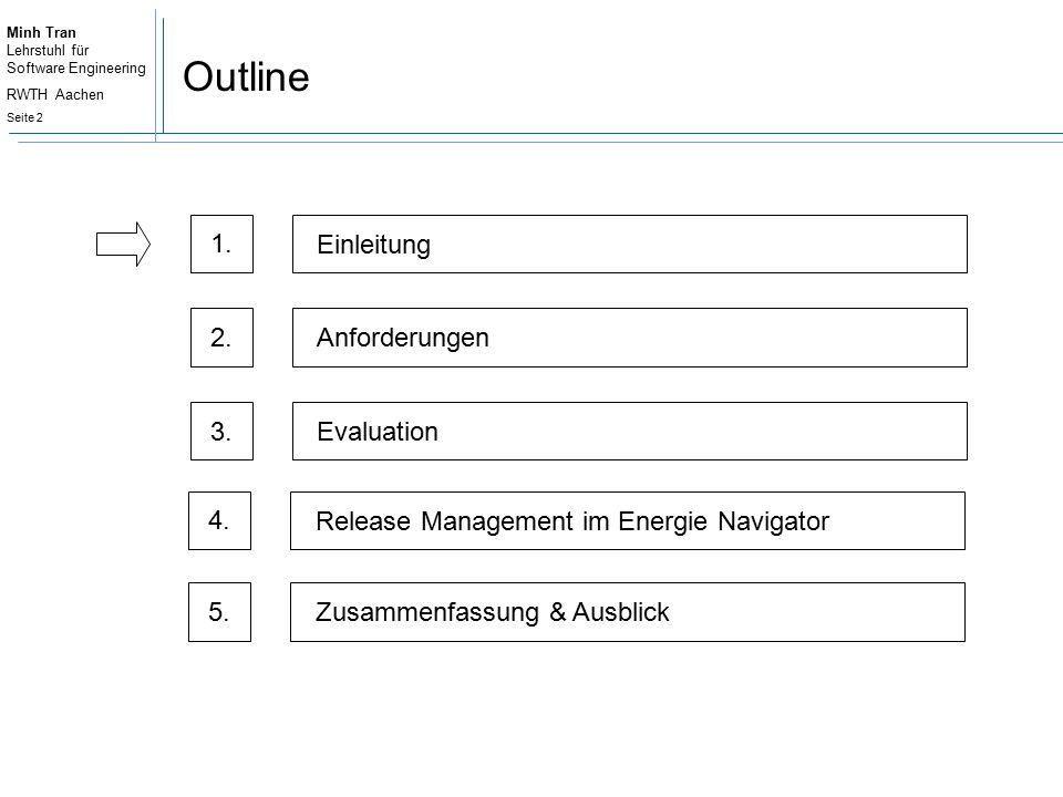 Minh Tran Lehrstuhl für Software Engineering RWTH Aachen Seite 3 Release Management I Software release management [...] is the process through which software is made available to and obtained by its users. André van der Hoek, 1997