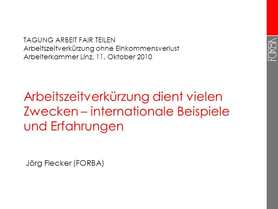 """12 Schlussfolgerung für Österreich 2  Recht auf Anpassung der Arbeitszeit: Übergänge von Vollzeit in Teilzeit - und zurück  Differenzierte Arbeitszeitverkürzung (kurze Vollzeit, 6-Stunden- Tag, """"Gesundheitsteilzeit …)  Konzentration auf Durchsetzung: Begrenzung von Überstunden, Zeitaufzeichnungen, Arbeitszeitbilanzen"""