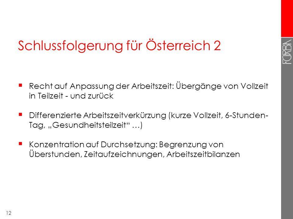 12 Schlussfolgerung für Österreich 2  Recht auf Anpassung der Arbeitszeit: Übergänge von Vollzeit in Teilzeit - und zurück  Differenzierte Arbeitsze