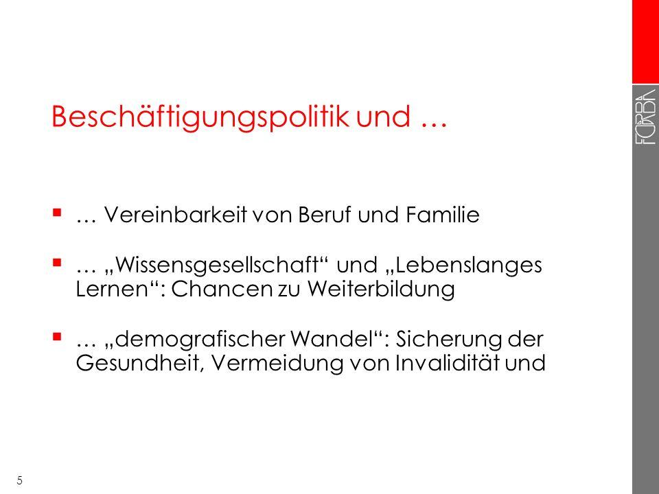 """5 Beschäftigungspolitik und …  … Vereinbarkeit von Beruf und Familie  … """"Wissensgesellschaft"""" und """"Lebenslanges Lernen"""": Chancen zu Weiterbildung """