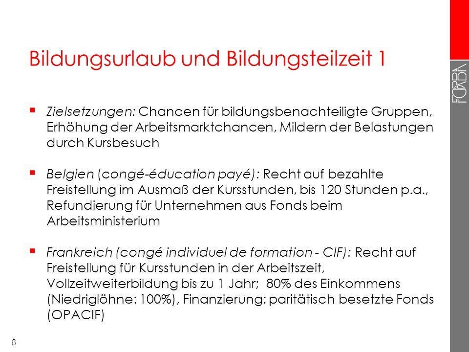 8 Bildungsurlaub und Bildungsteilzeit 1  Zielsetzungen: Chancen für bildungsbenachteiligte Gruppen, Erhöhung der Arbeitsmarktchancen, Mildern der Bel