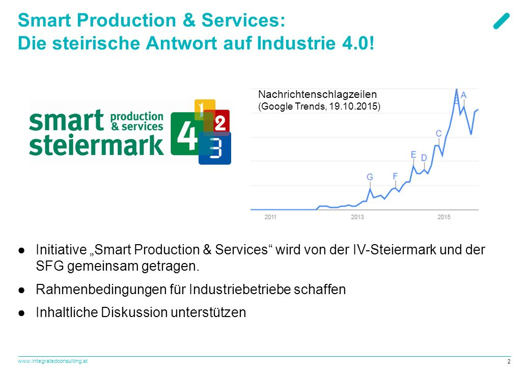 www.integratedconsulting.at 2 Smart Production & Services: Die steirische Antwort auf Industrie 4.0.